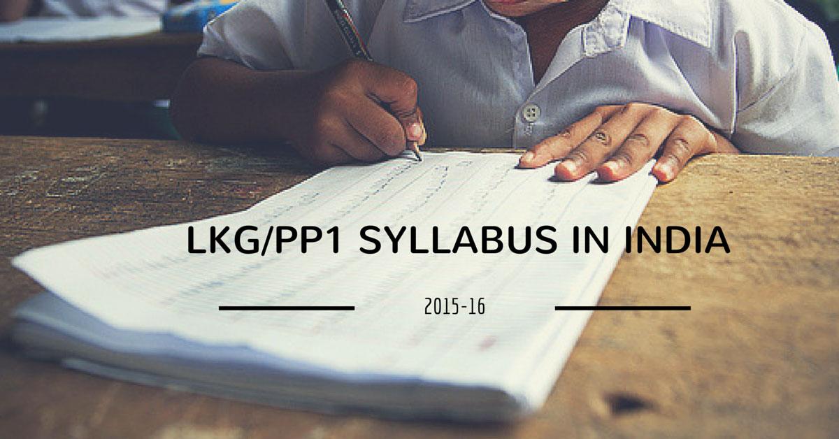 LKG Syllabus In India