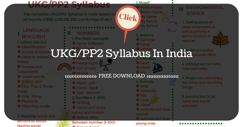 Ukg Syllabus In India