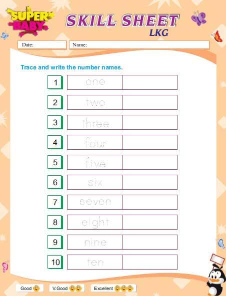Number Names Worksheets Senior Kg Worksheets Free Printable